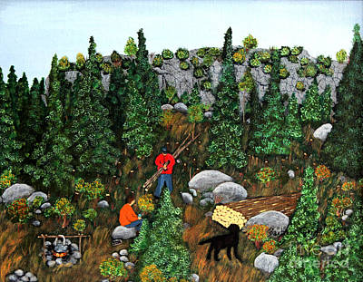 Woodcutters And Black Lab Print by Barbara Griffin