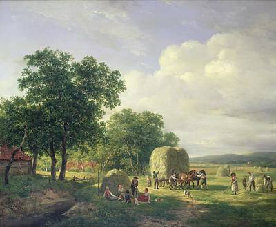 Tall Tree Painting - Wooded Landscape With Haymakers by Hendrick van de Sande Bakhuyzen