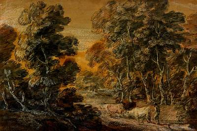 Wooded Landscape With Herdsman And Cattle Print by Thomas Gainsborough