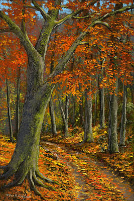 Wooded Road Print by Frank Wilson