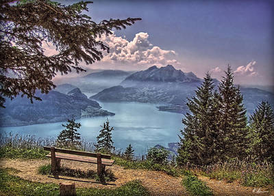 Outlook Photograph - Wooden Bench by Hanny Heim