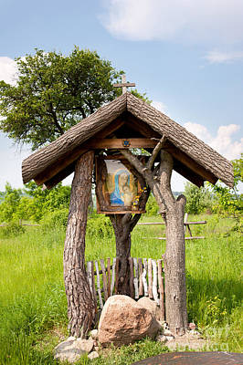 wooden shrine of holy Mother in Poland  Print by Arletta Cwalina