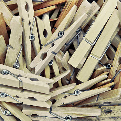 Clothes Pins Photograph - Wooden Clothes Pegs by Tom Gowanlock