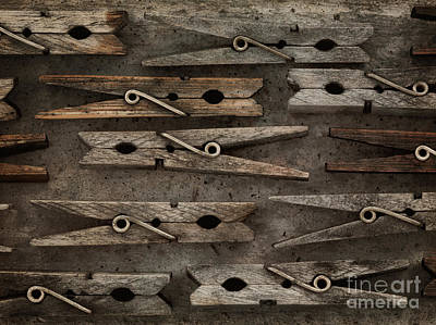 Laundry Photograph - Wooden Clothespins by Priska Wettstein