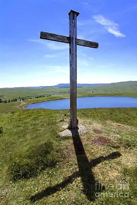 The Wooden Cross Photograph - Wooden Cross Overlooking Lake Godivelle. Puy De Dome. Auvergne. France by Bernard Jaubert