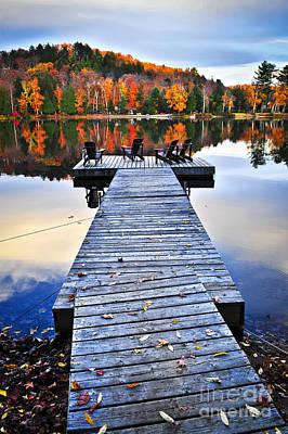 Adirondack Photograph - Wooden Dock On Autumn Lake by Elena Elisseeva