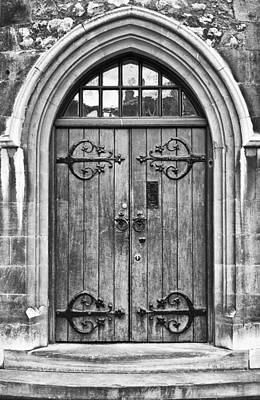 Wooden Door At Tower Hill Bw Print by Christi Kraft