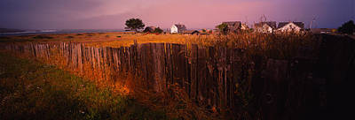 Mendocino Photograph - Wooden Fence In A Field With Houses by Panoramic Images