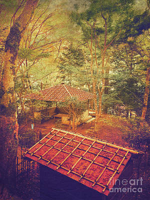 Wooden Gazebo And Small Shed In Forest Print by Beverly Claire Kaiya