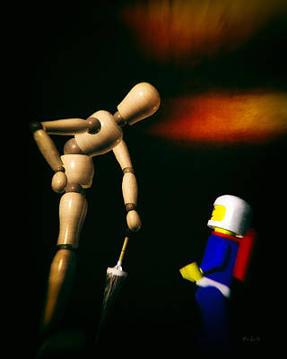 Toy Shop Photograph - Wooden Man With Umbrella by Bob Orsillo