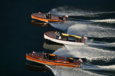 Wooden Runabouts On Lake Tahoe Print by Steven Lapkin