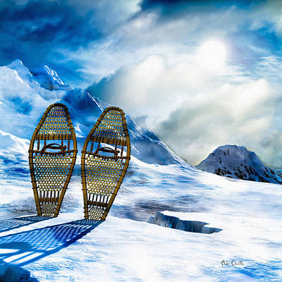 Ice Photograph - Wooden Snowshoes  by Bob Orsillo