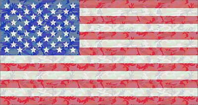 American Flag Digital Art - Woodland Camo Us Flag by Ron Hedges
