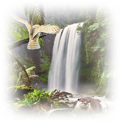 Otter Digital Art - Woodland Falls by Sharon Lisa Clarke