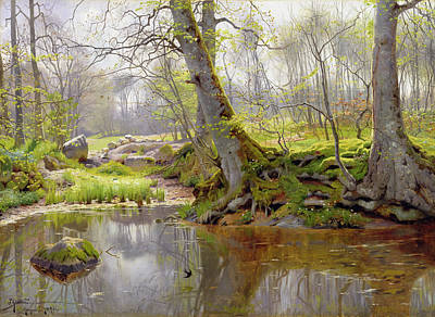 Leafy Painting - Woodland Pond by Peder Monsted