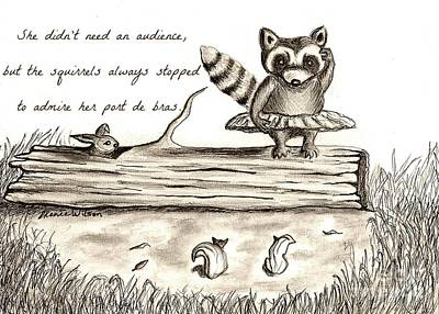 Raccoon Drawing - Woodland Whimsy 1 by D Renee Wilson