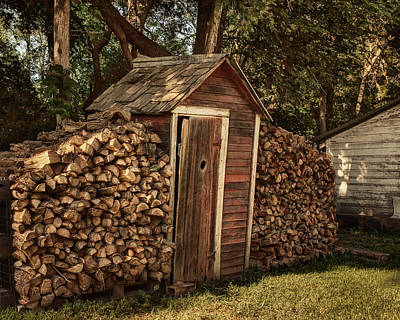 Woodpile And Shed Print by Nikolyn McDonald