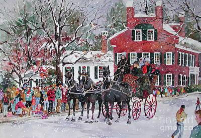 New England Snow Scene Painting - Woodstock Wassail Parade by Sherri Crabtree