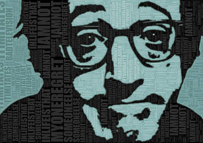 Classic Film Star Mixed Media - Woody Allen And Quotes by Tony Rubino