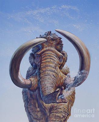 Woolly Mammoth Charging, Pleistocene Print by Mark Hallett