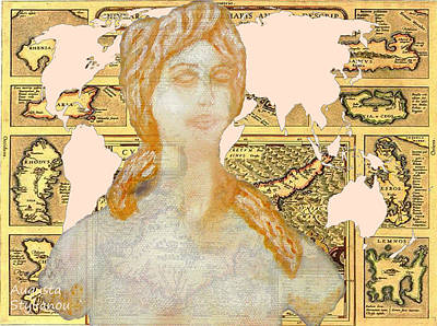 Old Map Digital Art - Word Map Cyprus And Aphrodite by Augusta Stylianou