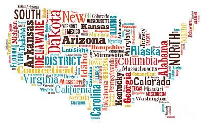 Wordcloud Of America Print by Antony McAulay