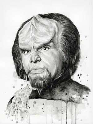 Star Trek Painting - Worf Portrait Watercolor Star Trek Art by Olga Shvartsur
