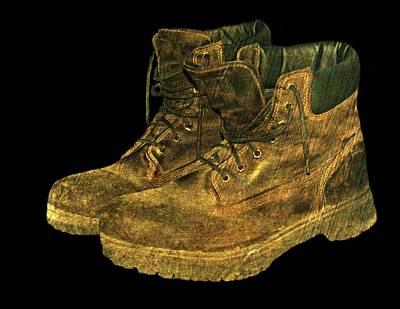 Mens Shoe Photograph - Work Boots by Diana Angstadt