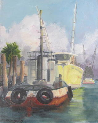 Susan L Richardson Art Painting - Working Waterfront by Susan Richardson