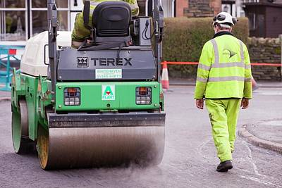 Workmen Replacing Road Surface Print by Ashley Cooper