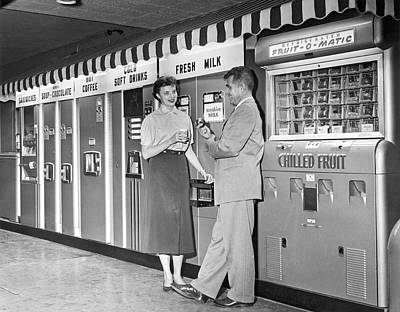Snack Bar Photograph - Workplace Snack Break by Underwood Archives