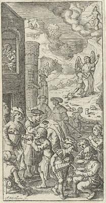 Works Of Mercy, Theodor Matham Print by Theodor Matham