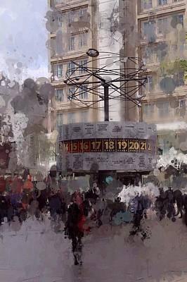 Berlin Mixed Media - World Time Clock Berlin by Stefan Kuhn