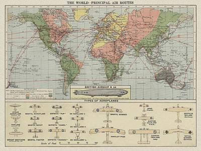 Cuckoo Mixed Media - World Air Routes Map 1920 by Maciej Froncisz