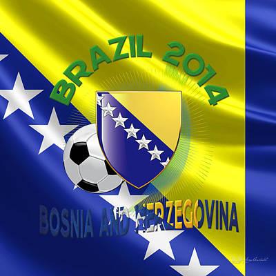 Bosnae Digital Art - World Cup 2014 - Team Bosnia And Herzegovina by Serge Averbukh