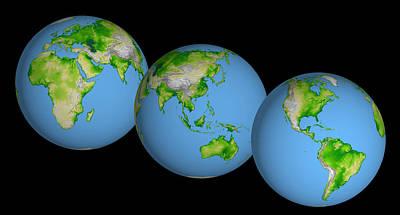 Imaging Radar Photograph - World Globes by Nasa Jpl