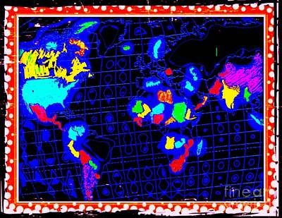 Map Of Italy Digital Art - World Map 1b by Nina Kaye