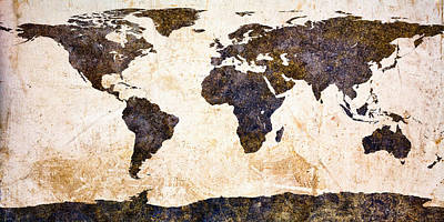 Aged Painting - World Map Abstract by Bob Orsillo
