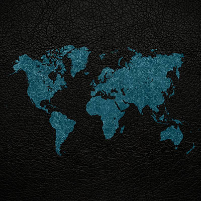 Fabric Mixed Media - World Map Blue Vintage Fabric On Black Leather by Design Turnpike