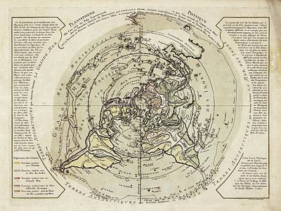 World Map Centred On North Pole Print by Library Of Congress, Geography And Map Division