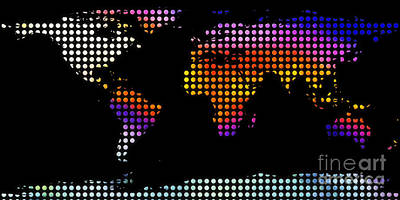 World Map Colourful Dots #2 Print by Pixel Chimp