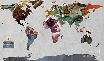 Ballet Dancers Painting - Degas 5  World Map by John Clark