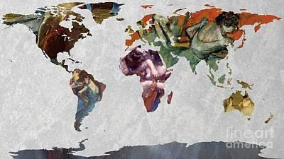 Ballet Dancers Digital Art - World Map   Degas 4 by John Clark
