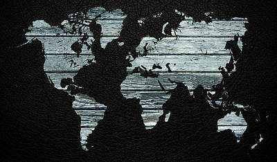 Light Blue Mixed Media - World Map Distressed Wood Beams On Leather by Design Turnpike