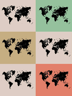 World Map Grid Poster 2 Print by Naxart Studio