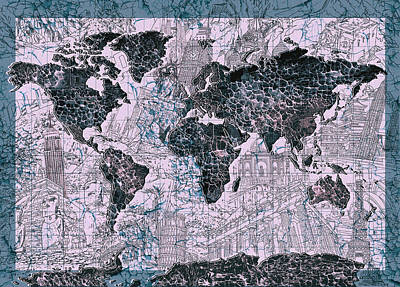 World Map Grunge 2 Print by Bekim Art
