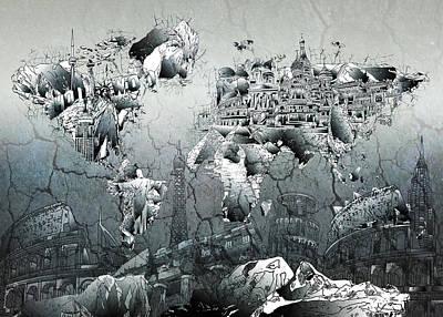 Paris Digital Art - World Map Grunge Landmarks by Bekim Art