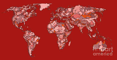 Continent Drawing - World Map In Vivid Red by Adendorff Design