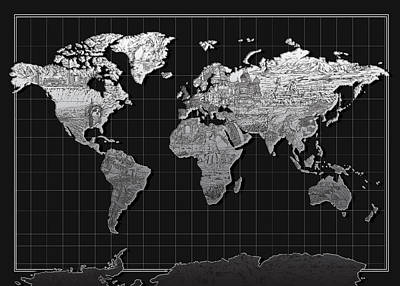 World Map Landmark Black Print by Bekim Art