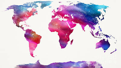 Paint Digital Art - World Map Light  by Mike Maher